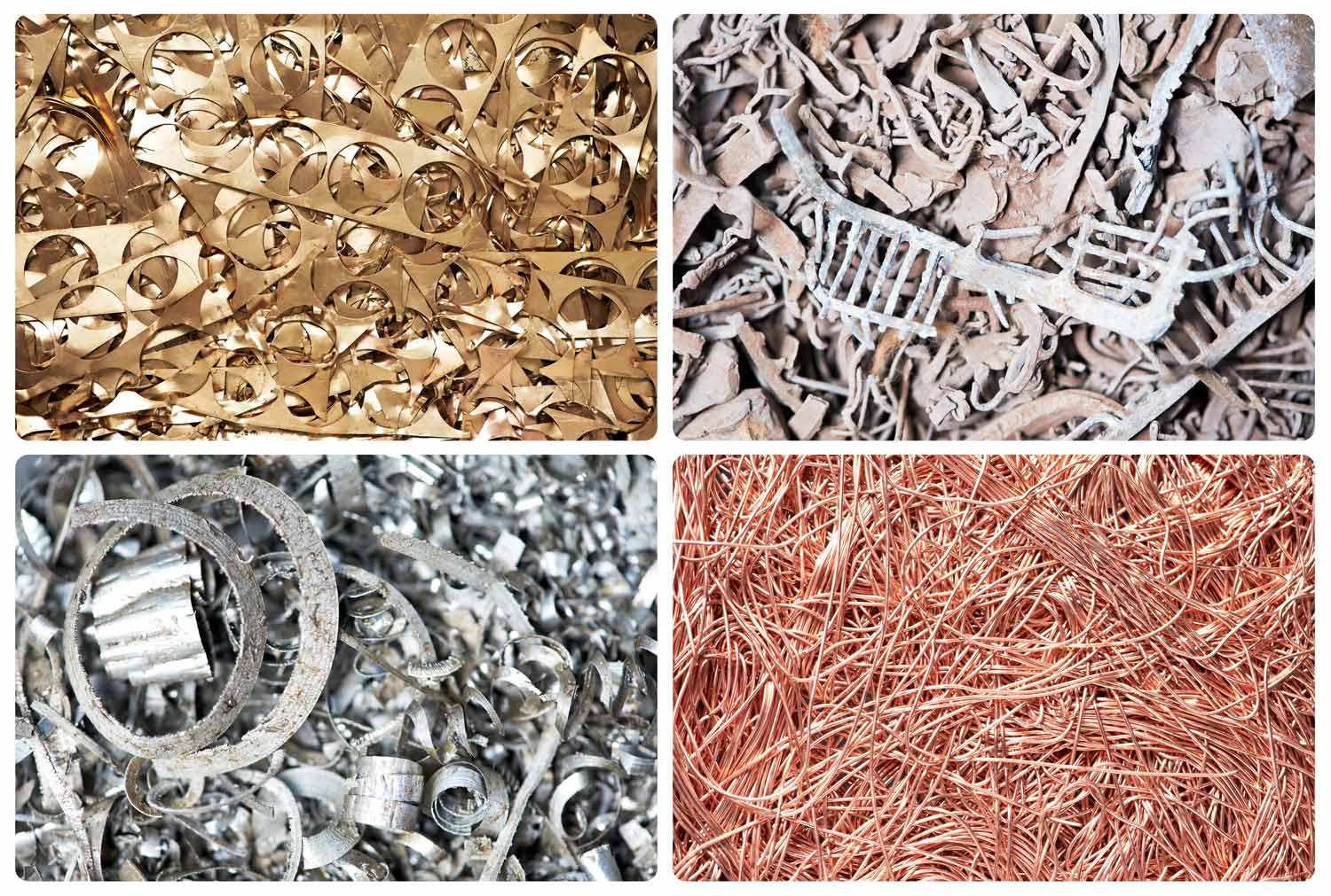 types of metals: golden, steel, copper and aluminium